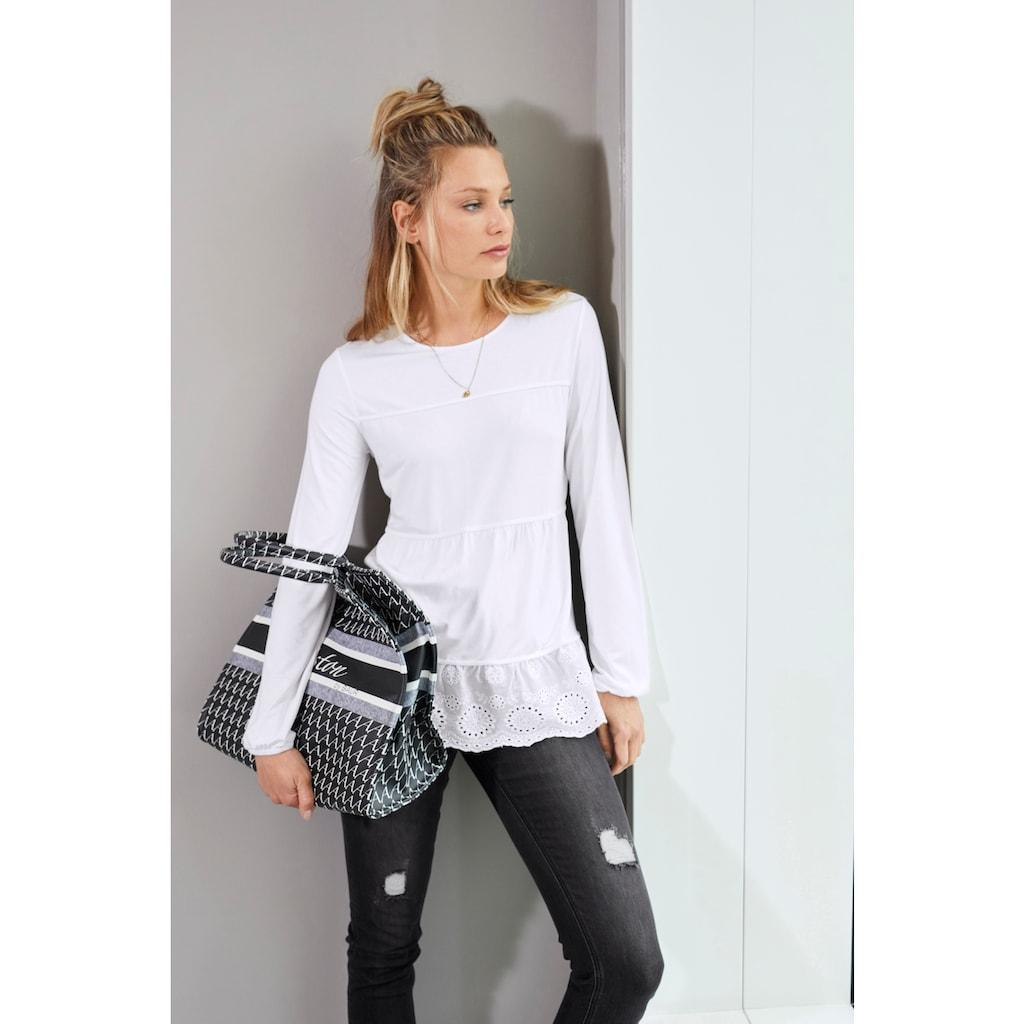 Aniston CASUAL Shirtbluse, mit hochwertiger Spitze am Saum - NEUE