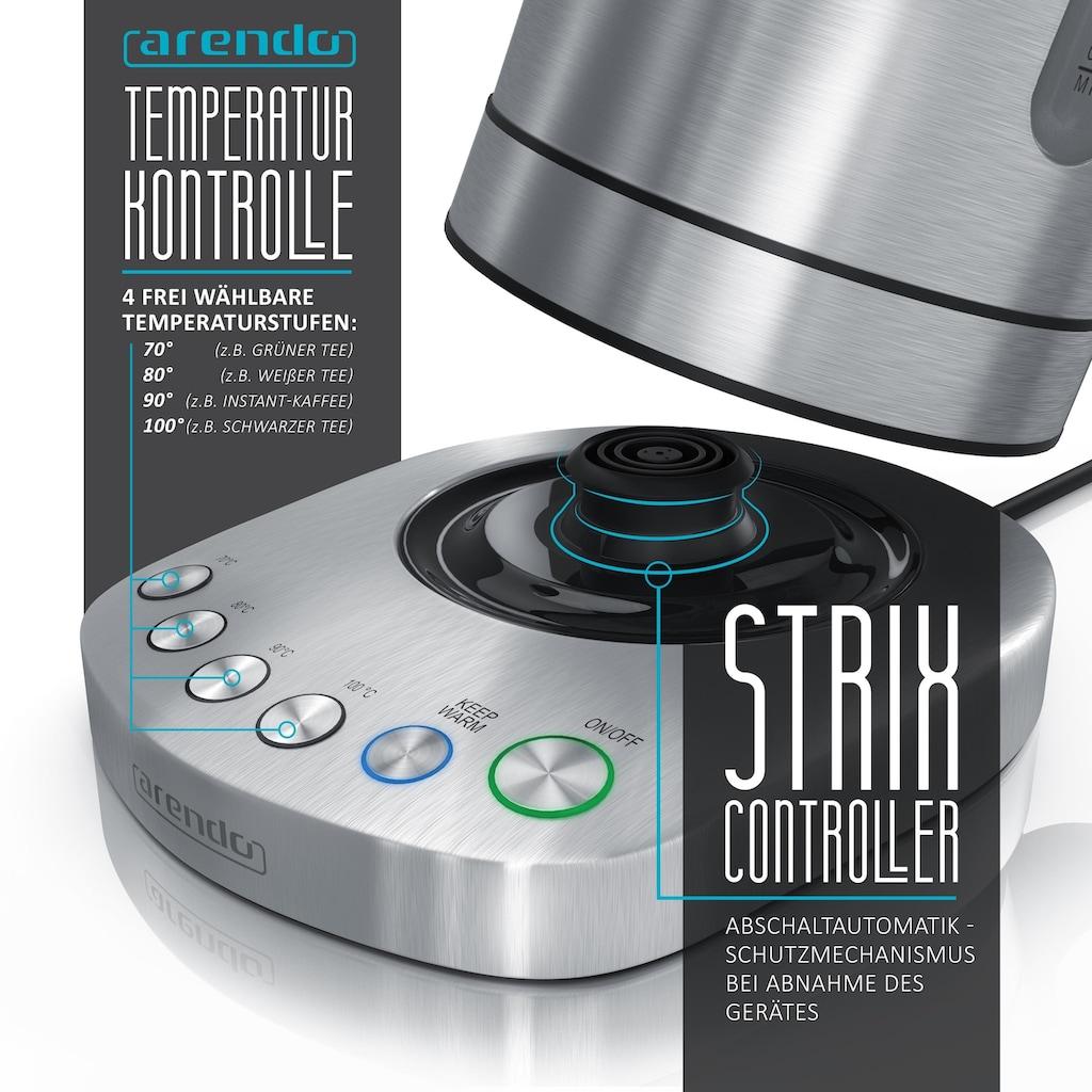 Arendo Edelstahl Turbo Wasserkocher mit vier einstellbaren Temperaturen