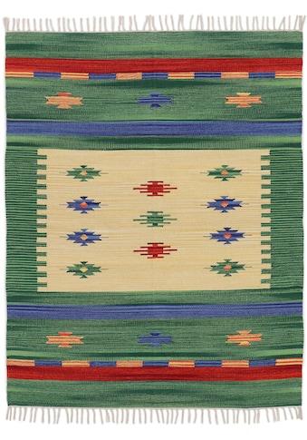 carpetfine Teppich »Kelim Shiva«, rechteckig, 5 mm Höhe, Flachgewebe, Wendeteppich, reine Baumwolle, mit Fransen, Wohnzimmer kaufen
