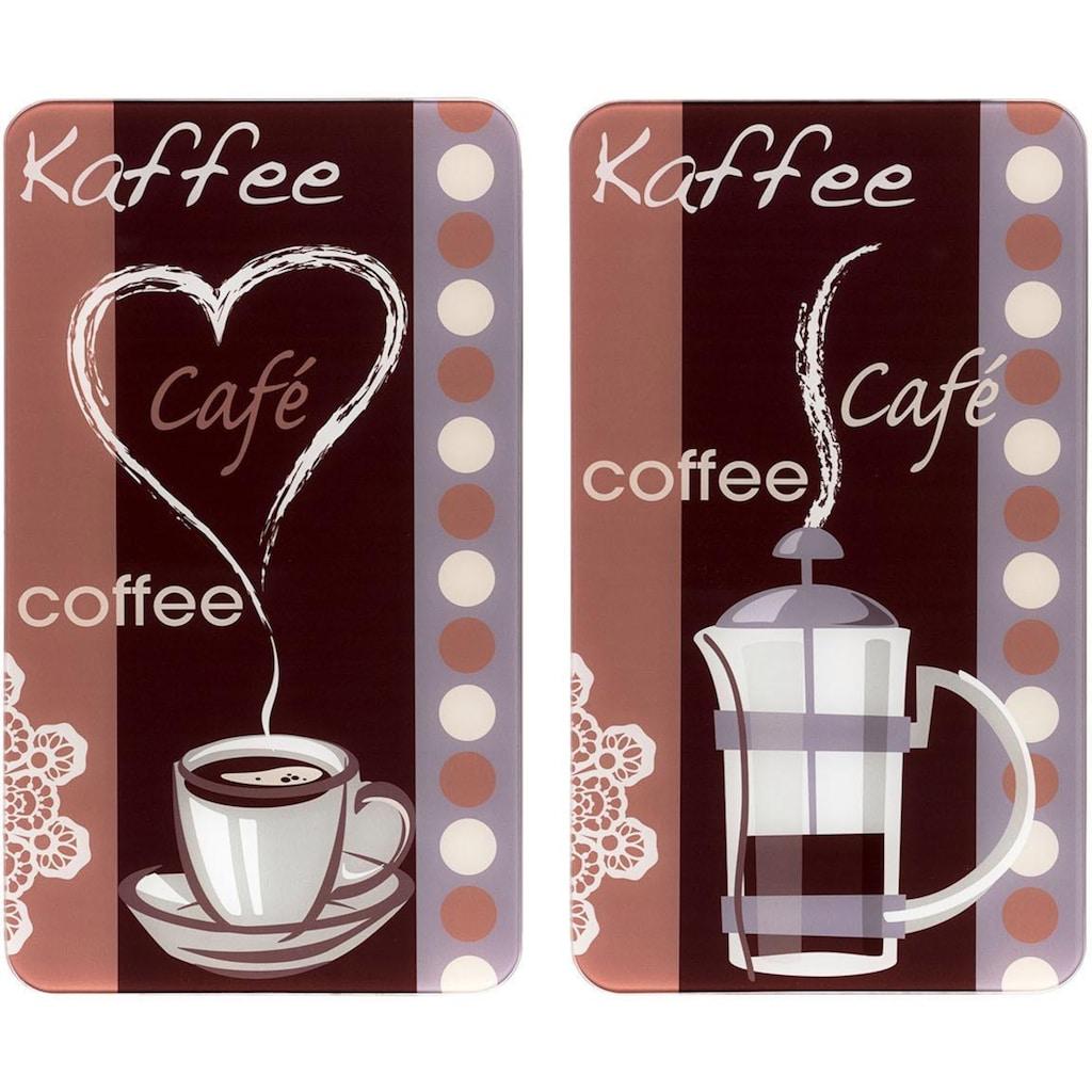 """WENKO Herd-Abdeckplatte """"Kaffeeduft"""", Glas, (Set, 2-tlg.)"""