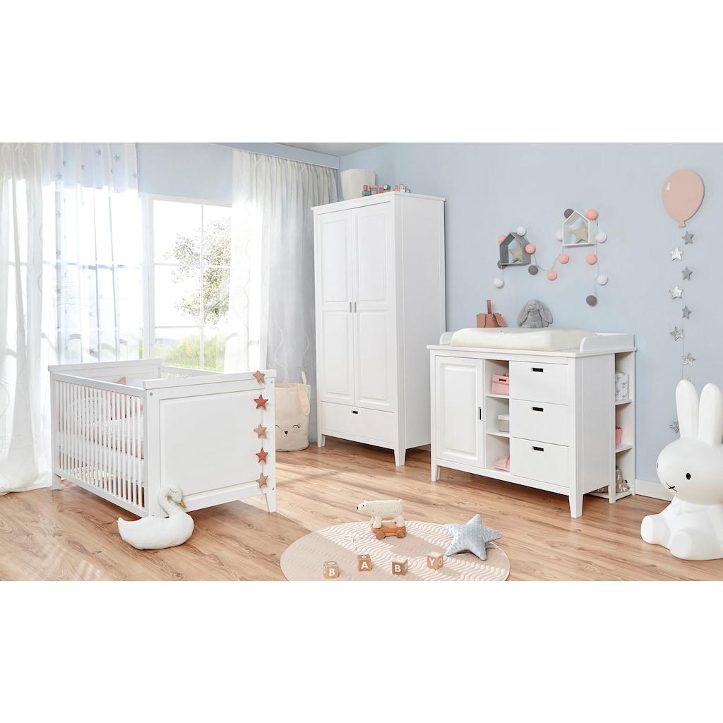 Ticaa Babyzimmer-Komplettset »Morgenroth«, (Set, 4 tlg.), Bett + Wickelkommode + Schrank + Unterstellregal