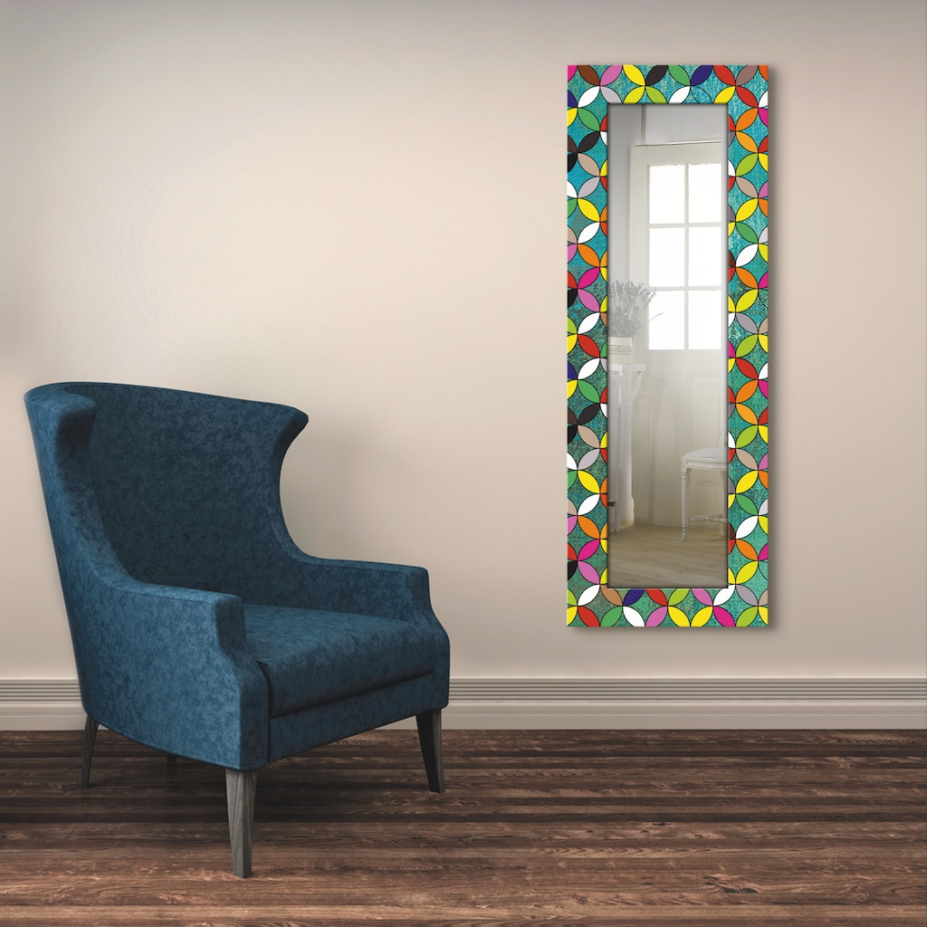Artland Wandspiegel »Bunte Kreise auf grün«