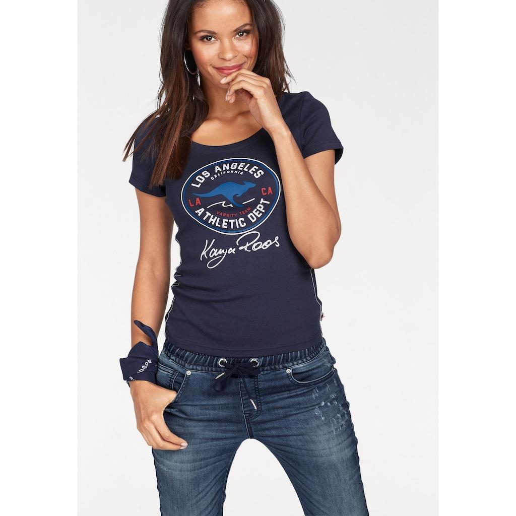 KangaROOS T-Shirt, mit großem Retro Label-Druck vorne