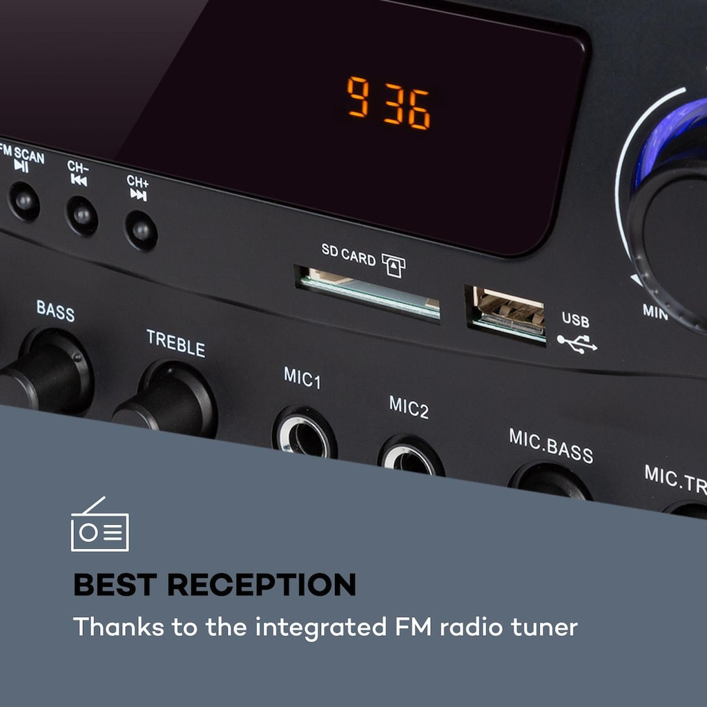 Auna Hifi-Verstärker 2x50 W BT USB SD 2 x Mikro FM-Radio