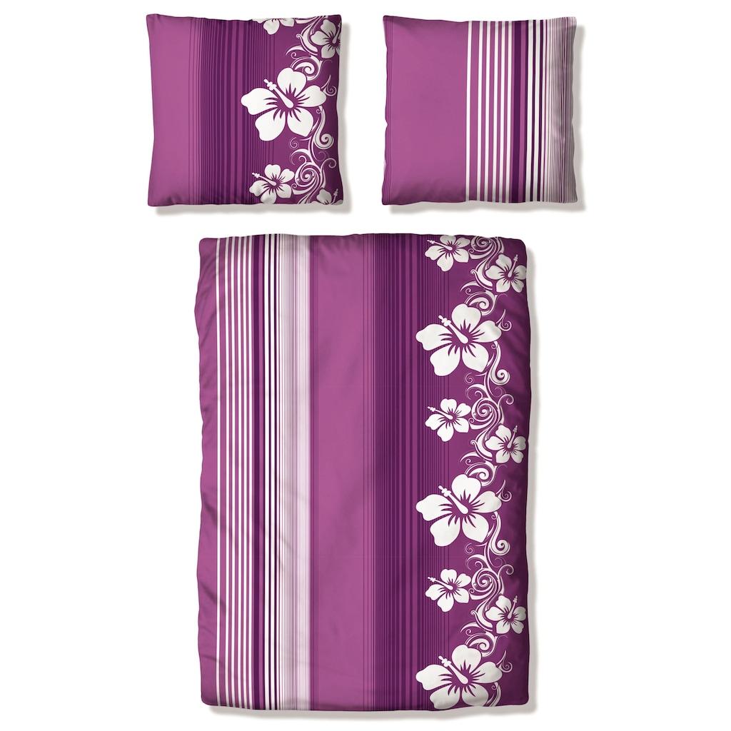 my home Bettwäsche »Kelli«, mit Streifen und Blüten