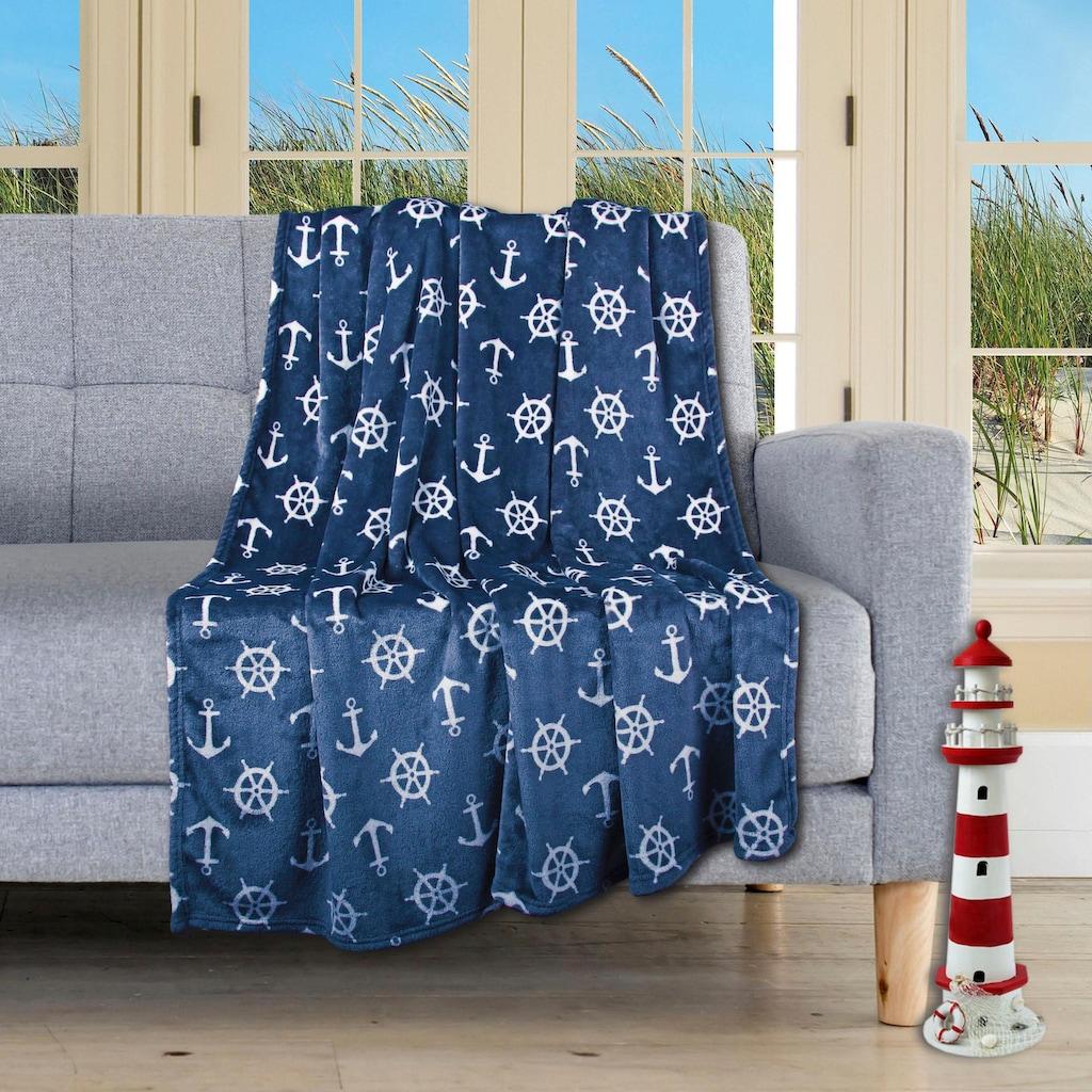 Delindo Lifestyle Wohndecke »Nautic«, kuschelig weiche Coral Fleece Decke im maritimen Look