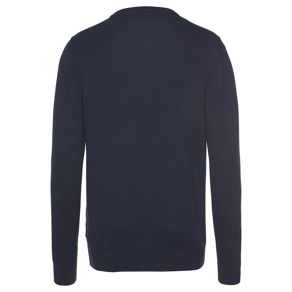 Joop Jeans V-Ausschnitt-Pullover, mit farblich passender Logo- Stickerei