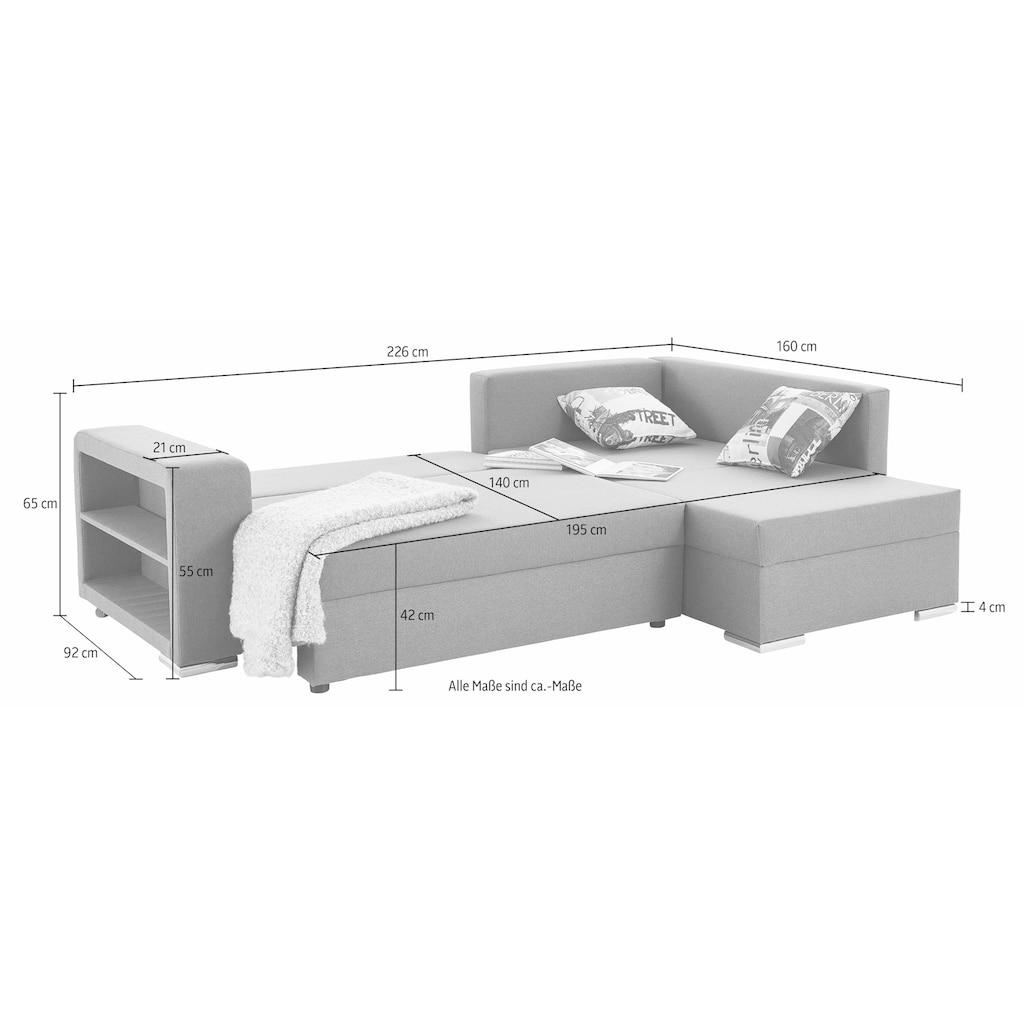 COLLECTION AB Ecksofa, mit Bettfunktion, Bettkasten und Regalarmteil, Ottomane links oder rechts montierbar, wahlweise mit Federkern, frei im Raum stellbar