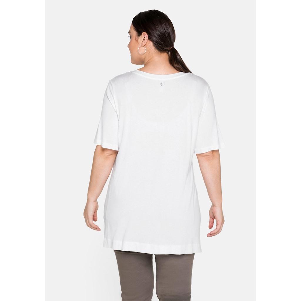 Sheego T-Shirt, mit V-Ausschnitt und Frontprint