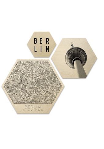 Wall-Art Mehrteilige Bilder »Hexagon Set Typisch Berlin City«, (Set, 3 St.) kaufen