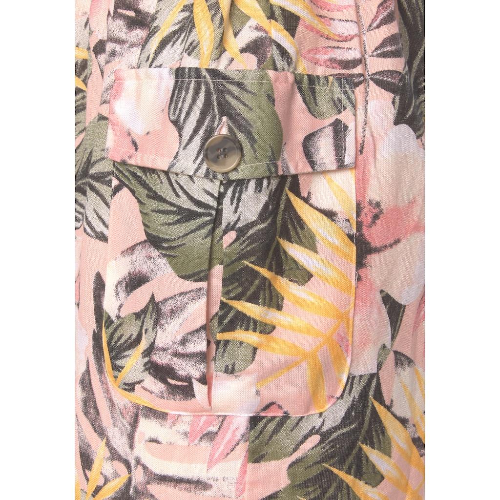 LASCANA Kurzoverall, aus Leinenmix mit Blumenprint