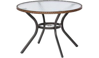 MERXX Gartentisch »Ravenna«, Polyrattan, Ø 100 cm, braun kaufen