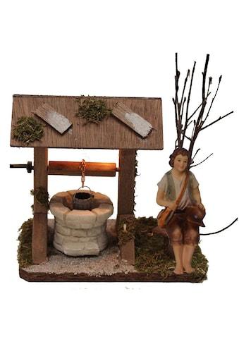 Alfred Kolbe Krippen - Zubehör »Brunnen mit Beleuchtung und Figur Hirte sitzend« (Set, 2 Stück) kaufen