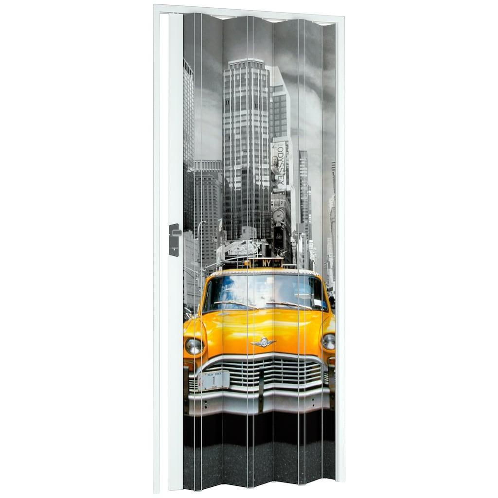 Falttür »NY-Skyline«, BxH: 88,5x202 cm, Weiß mit Motivdruck