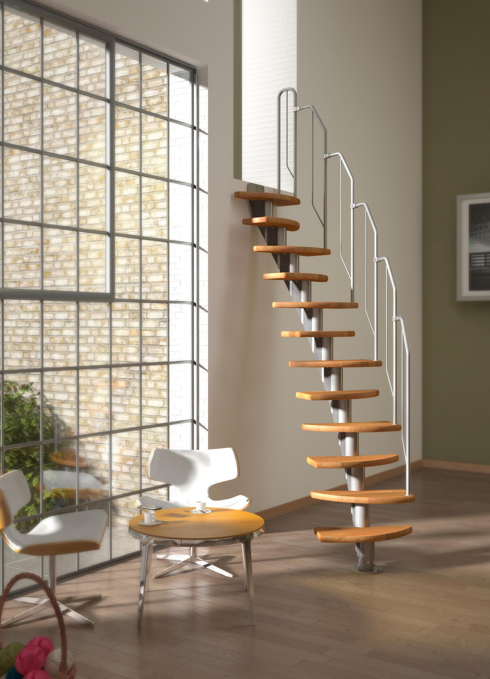 DOLLE Systemtreppe »Berlin«, Metallgeländer und -handlauf, Buche, BxH: 64x247 cm | Baumarkt > Leitern und Treppen > Treppen | Grau | DOLLE