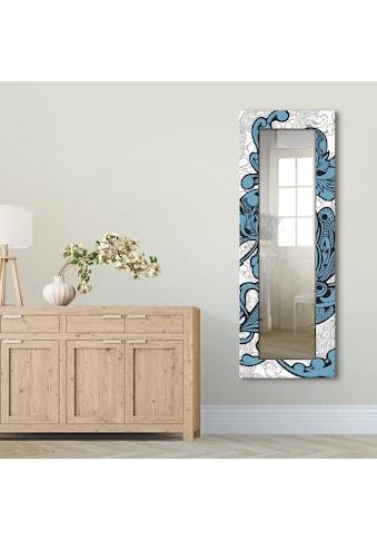 Artland Wandspiegel »Blue Ornaments«, gerahmter Ganzkörperspiegel mit Motivrahmen,... kaufen