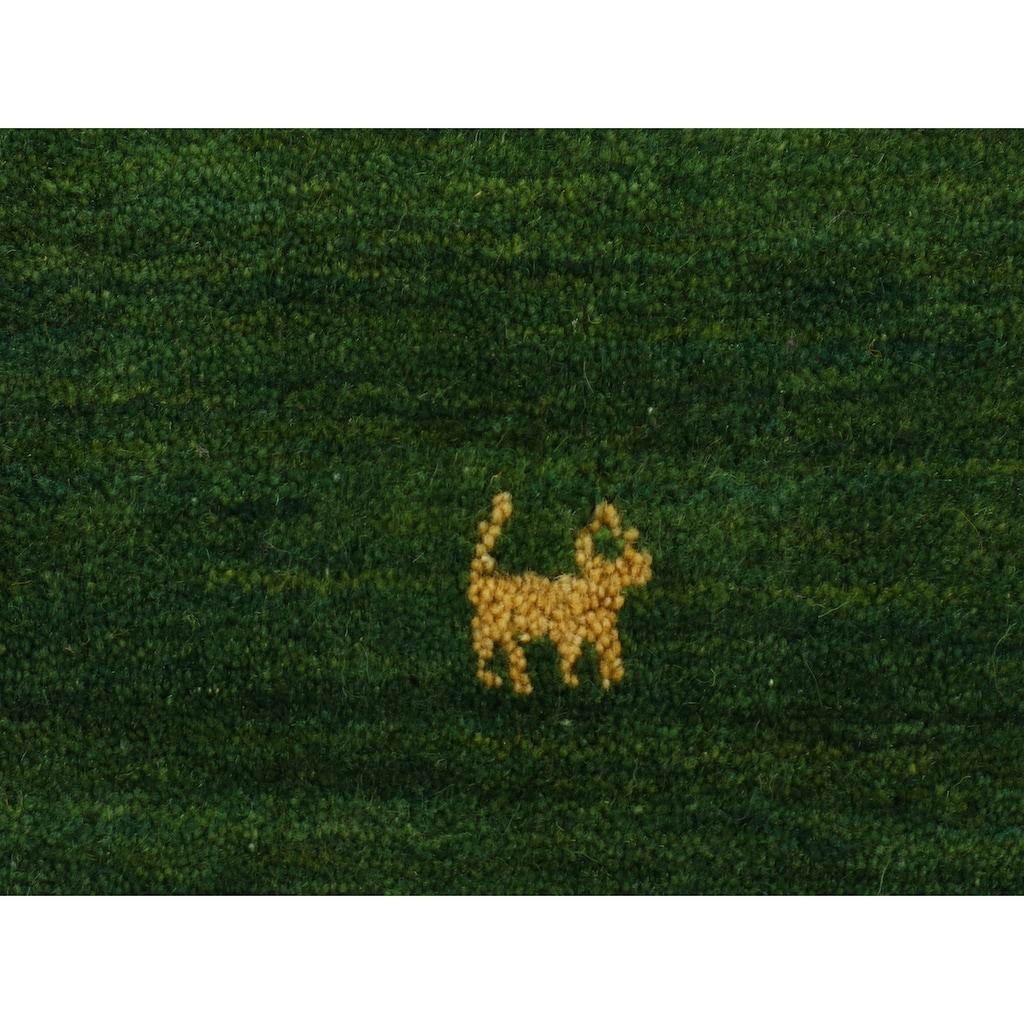 carpetfine Wollteppich »Gabbeh Uni«, rund, 15 mm Höhe, reine Wolle, handgewebt, Gabbeh Tiermotiv, Wohnzimmer