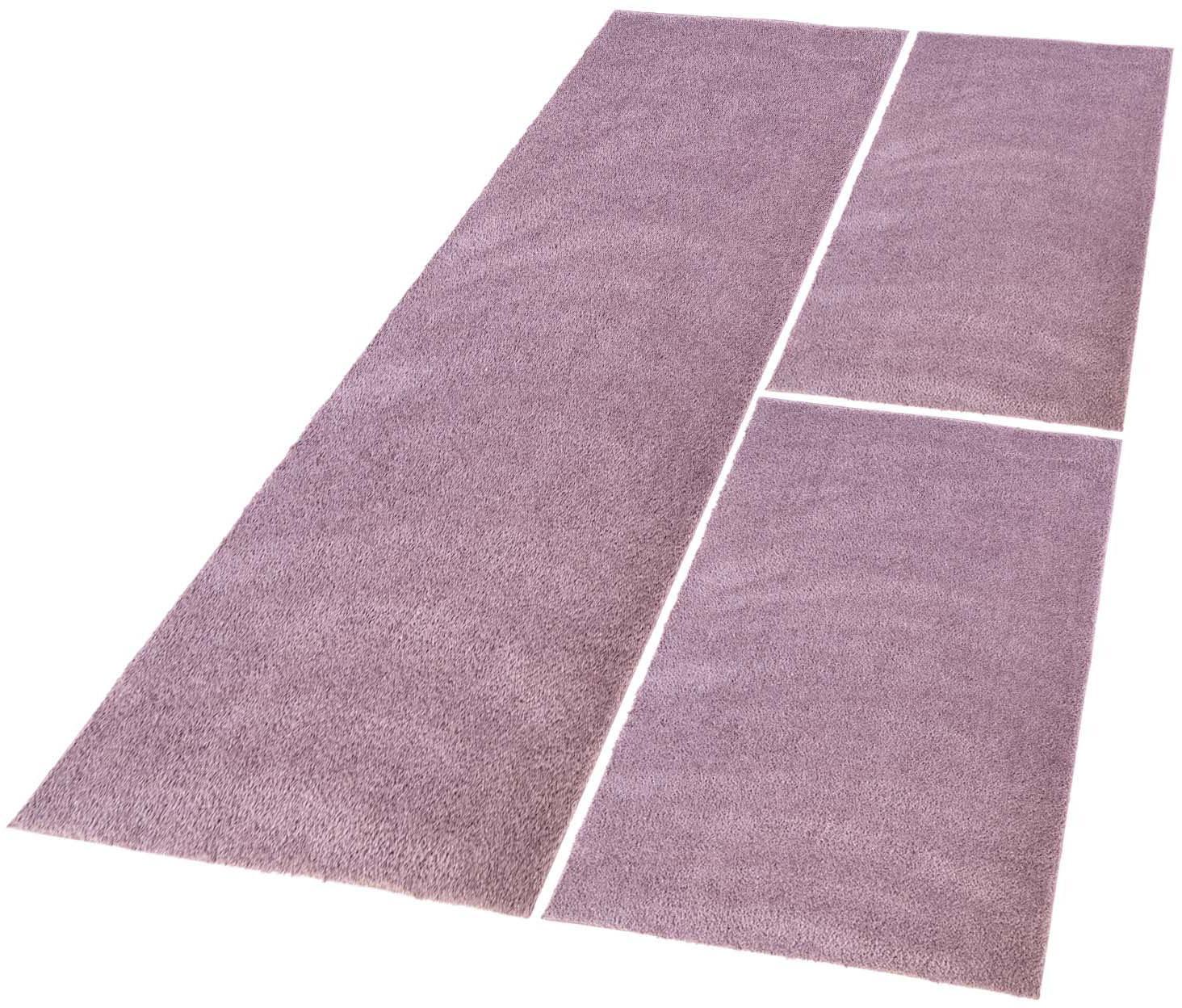 Bettumrandung »Softshine 2236« Carpet City, Höhe 30 mm (Set, 3-tlg.) | Heimtextilien > Teppiche > Läufer | Lila | Polyester - Microfaser | Carpet City