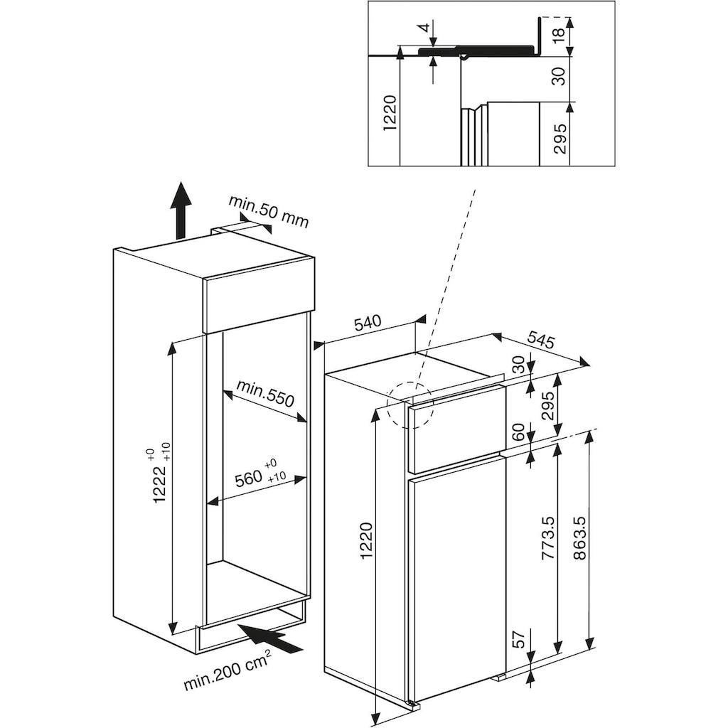 BAUKNECHT Einbaukühlgefrierkombination, KDI 1121/A+, 122 cm hoch, 54 cm breit