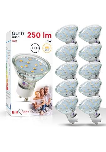 B.K.Licht LED-Leuchtmittel, GU10, 10 St., Warmweiß, LED Lampe Glühbirne 3 Watt 250 Lumen SET 3.000 Kelvin Energiesparlampe kaufen