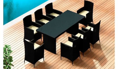 BAIDANI Gartenmöbelset »Elegancy XXL schwarz«, 17 - tlg., 8 Stühle, Tisch 90x200 cm, Alu/Polyester kaufen