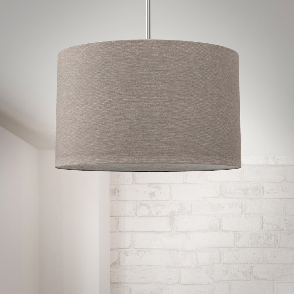 B.K.Licht Pendelleuchte, E27, Hängeleuchte, LED Pendelampe Stoff Textilschirm Hängelampe Decke Esstisch Wohnzimmer E27 taupe