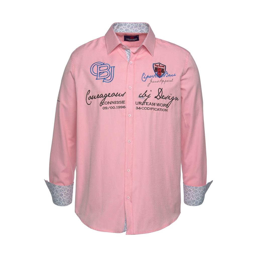 Cipo & Baxx Langarmhemd, mit aufwändigen Stickereien