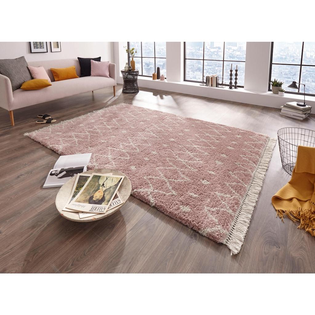 freundin Home Collection Hochflor-Teppich »Calla«, rechteckig, 35 mm Höhe, mit Fransen, Wohnzimmer