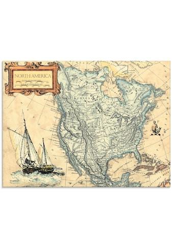 Artland Glasbild »Alte Amerikakarte«, Landkarten, (1 St.) kaufen