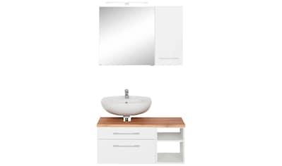 HELD MÖBEL Badmöbel-Set »Davos«, (3 tlg.), Bad-Spiegelschrank mit LED-Beleuchtung, Hängeschrank und Waschbeckenunterschrank kaufen