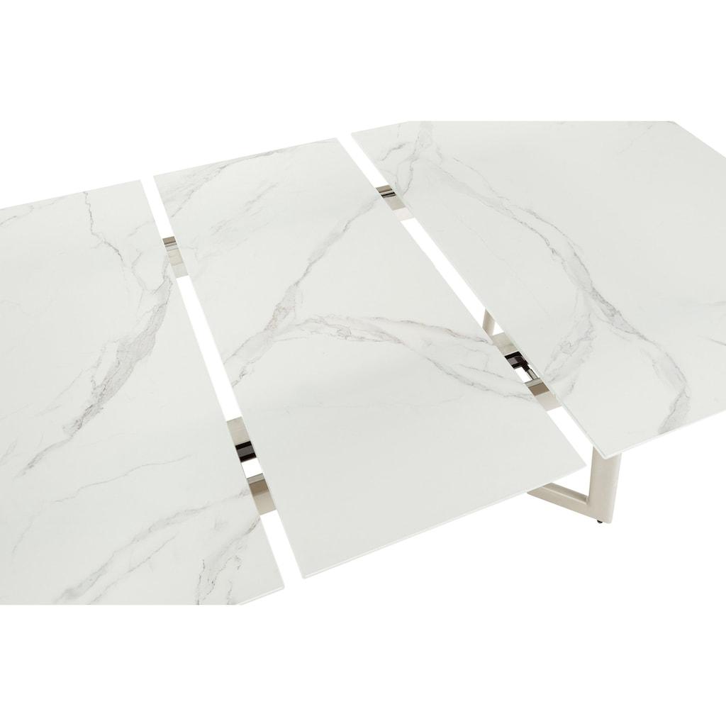 Leonique Esstisch »Cassy«, mit edler Glasplatte mit Marmor Optik Design, Auszugsfunktion von 140-180 cm verlägerbar