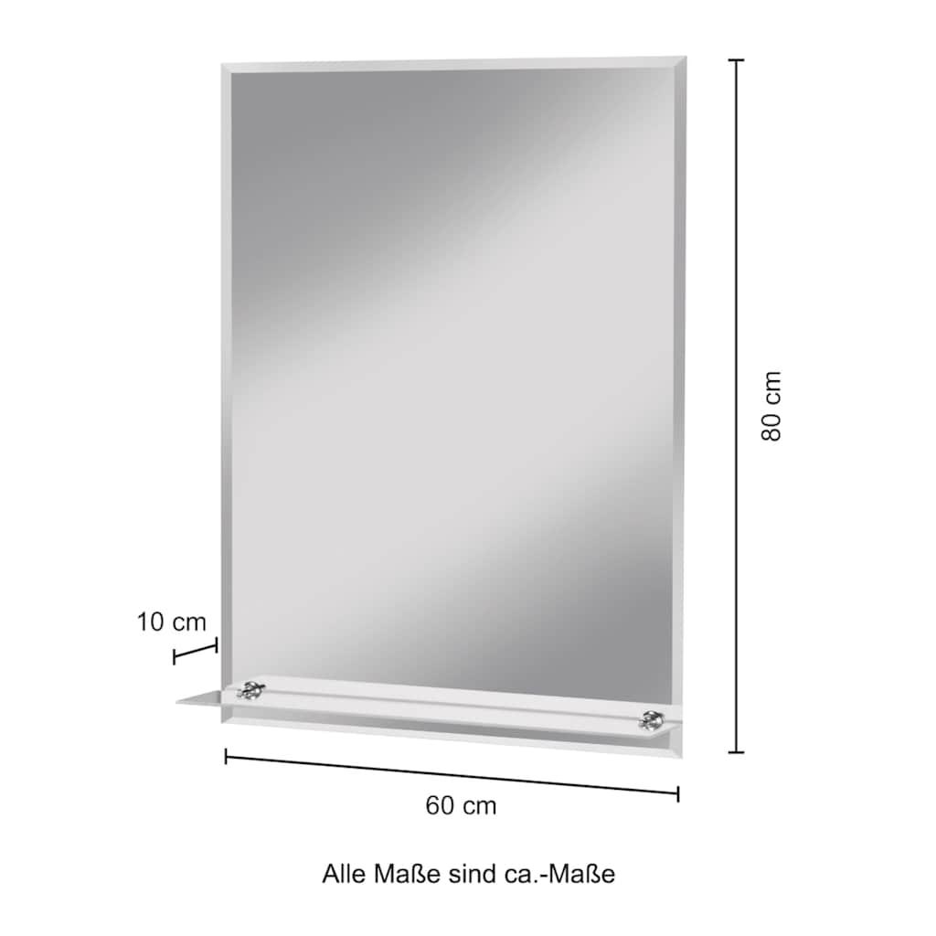 WELLTIME Badspiegel »Flex«, 60 x 80 cm, mit Glasablage und Facettenschliff
