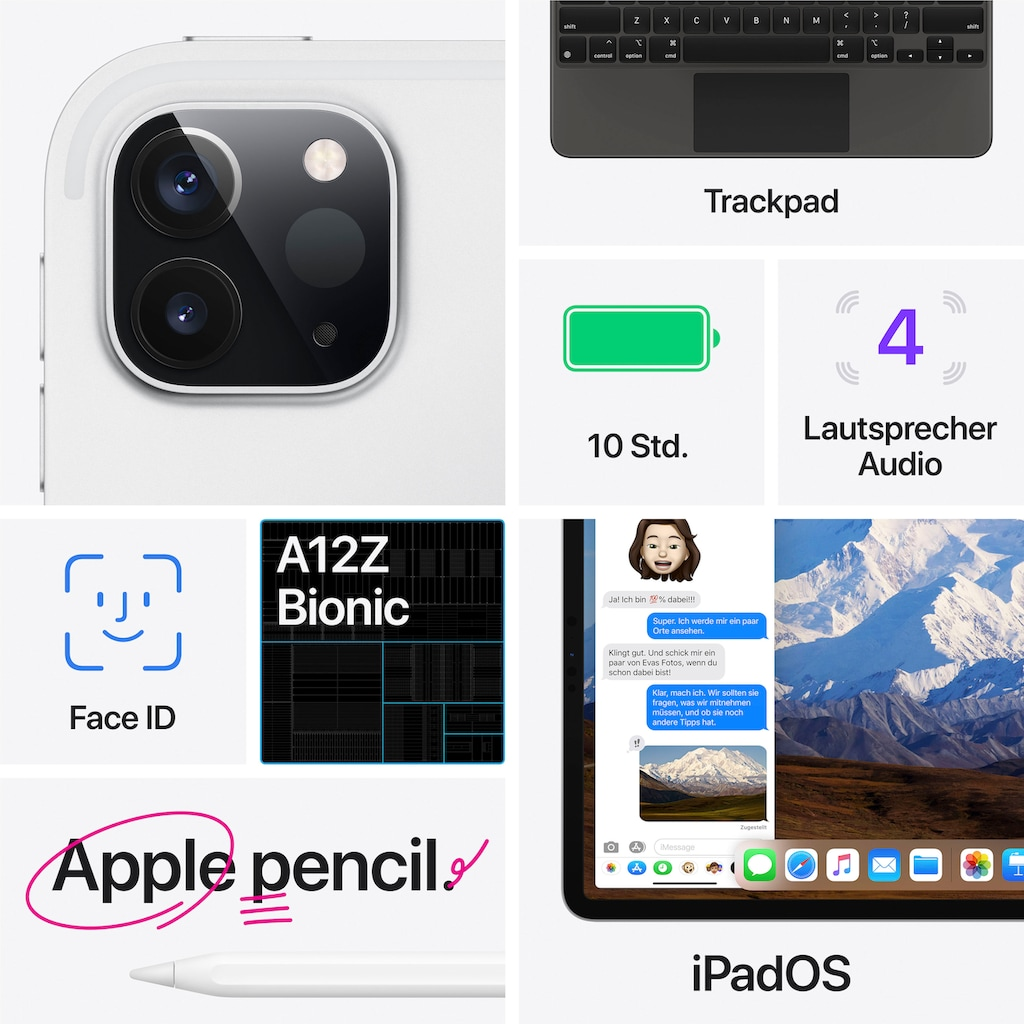 Apple Tablet »iPad Pro 12.9 (2020) - 512 GB WiFi«, Kompatibel mit Apple Pencil 2