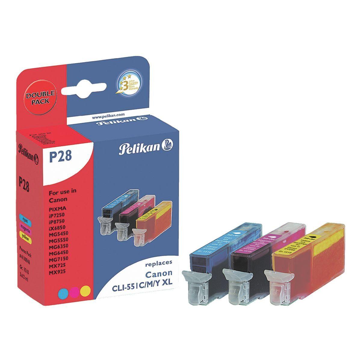 Pelikan Tintenpatronen-Set ersetzt Canon »CLI-551XL C/M/Y«