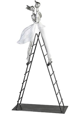 GILDE Dekofigur »Skulptur Leiter, weiß/silberfarben«, Dekoobjekt, Höhe 70, Wohnzimmer kaufen