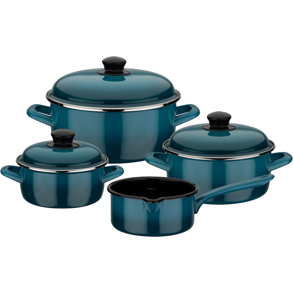 GSW Topf-Set »Blue Shadow«, Emaille, (Set, 7 tlg.), Induktion