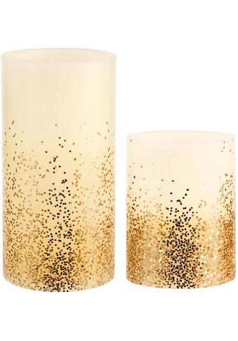 Pauleen LED-Kerze »Golden Glitter«, Wachskerze, Timer, elfenbein/Glitzer gold kaufen