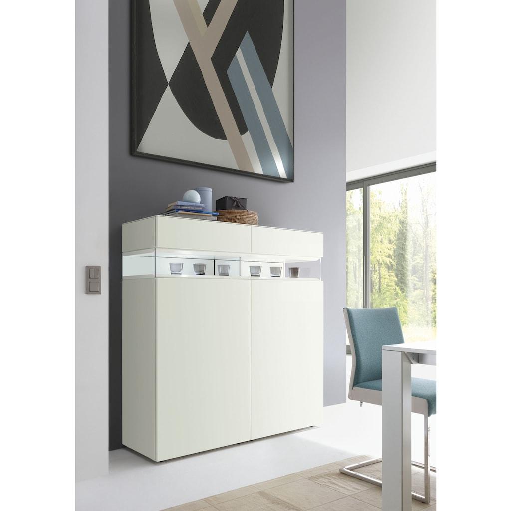 hülsta Highboard »NEO Highboard«, mit zwei Schubladen und zwei offenen Fächern, Breite 140,8 cm, inklusive Liefer- und Montageservice durch hülsta Monteure