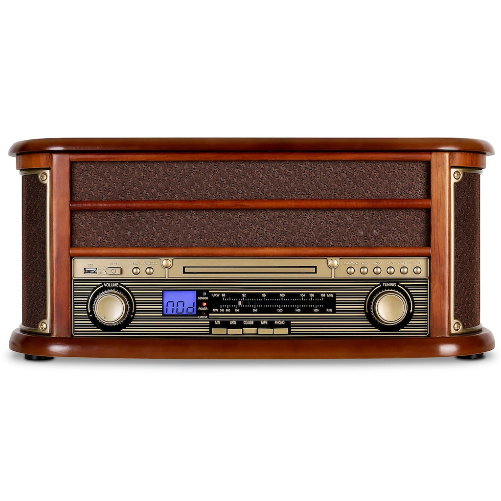 Auna Retro Stereo Kompakt Anlage Plattenspieler Bluetooth USB CD MP3
