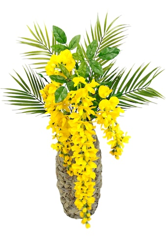 I.GE.A. Kunstblume »Blumenarrangement Goldregen mit Palmenzweige«, Vase aus Wasserhyazinthe kaufen
