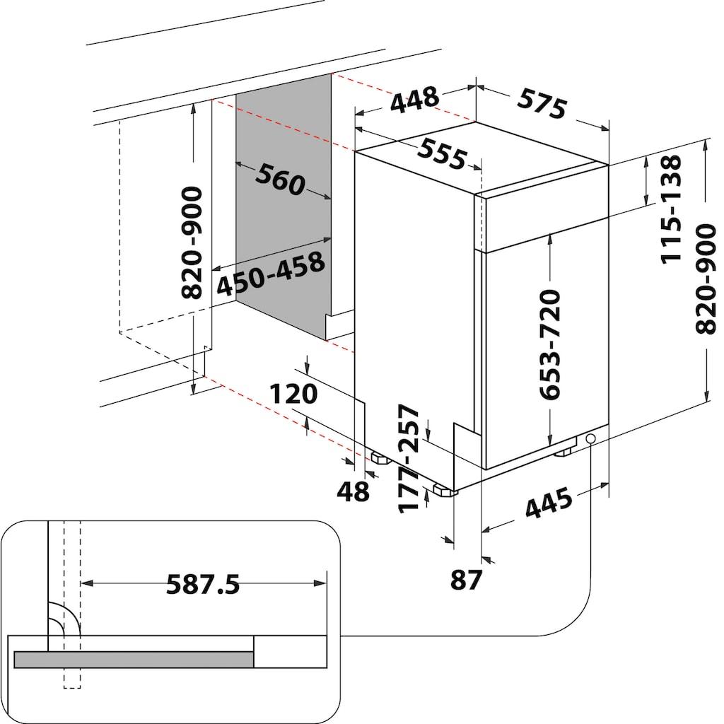 BAUKNECHT teilintegrierbarer Geschirrspüler »BSBO 3O35 PF X«, BSBO 3O35 PF X (2), 10 Maßgedecke