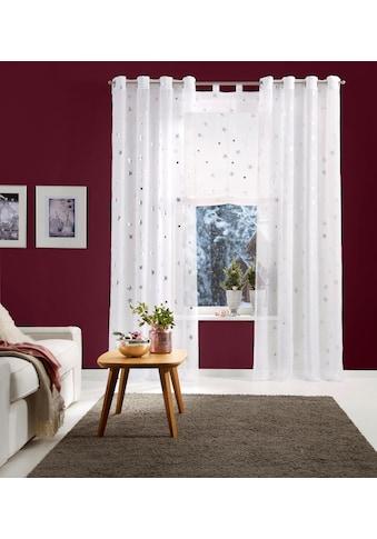 my home Raffrollo »Sterne«, mit Schlaufen, Weihnachtsgardinen kaufen
