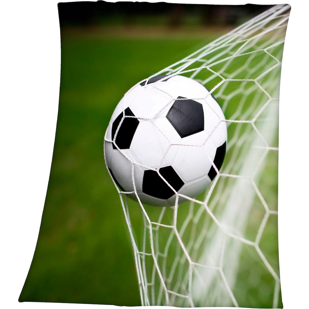 Herding Young Collection Kinderdecke »Fußball im Netz«, mit tollem Fußball Motiv