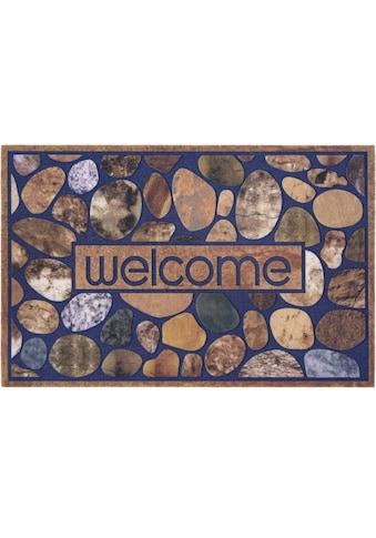 DELAVITA Fußmatte »Welcome Steine«, rechteckig, 6 mm Höhe, Schmutzmatte, mit Spruch,... kaufen