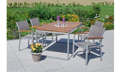 MERXX Gartenmöbelset »Naxos«, 5tlg., 4 Sessel, Tisch, stapelbar, ausziehbar, Akazien kaufen