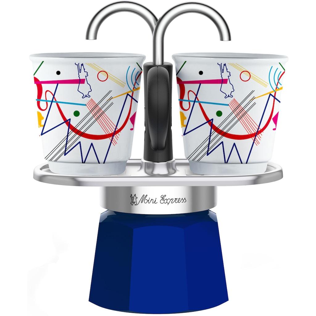 BIALETTI Espressokocher »Mini Express Kandinsky«, (1 Espressokocher + 2 Espressobecher, 90 ml)
