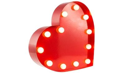 MARQUEE LIGHTS LED Dekolicht »Herz«, 1 St., Warmweiß, Wandlampe, Tischlampe Heart mit 12 festverbauten LEDs - 23cm Breit und 23cm hoch kaufen