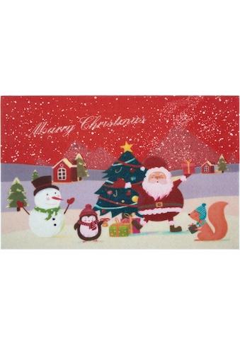 Home affaire Fußmatte »Weihnachten«, rechteckig, 6 mm Höhe, Schmutzmatte, mit Spruch,... kaufen