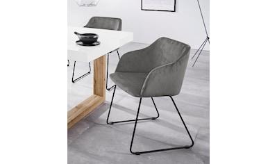 INOSIGN Stuhl »Fosco«, aus schönem weichen Velvetbezug, mit schwarzen Metallgestell,... kaufen