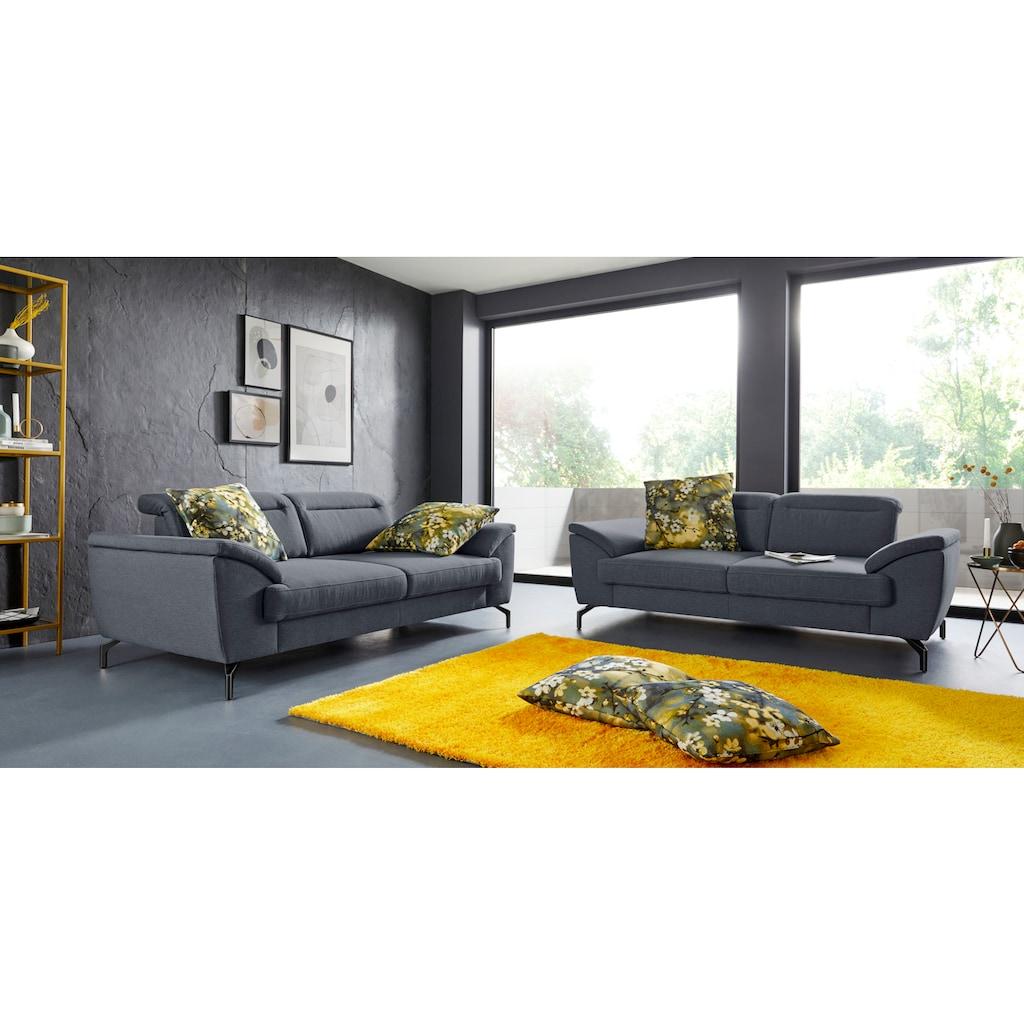 sit&more 2,5-Sitzer, 15 cm Fußhöhe, inklusive Sitztiefenverstellung, wahlweise Kopfteilverstellung, wahlweise in 2 unterschiedlichen Fußfarben